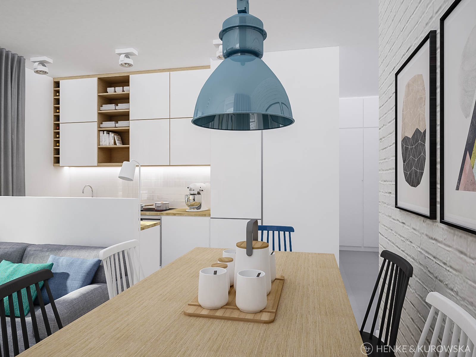 Henke kurowska studio projektowe projekt mieszkania 50m2 for Wohnlandschaft 2 50 m
