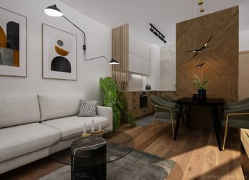 projekt wnetrza mieszkania kawalerki mid century warszawa